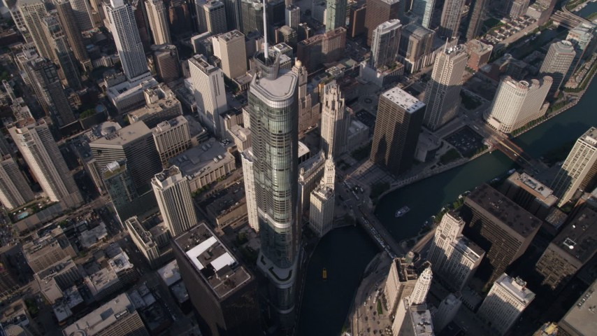 5K stock footage aerial video bird's eye approach to Trump International Hotel and Tower and Chicago River, Downtown Chicago, Illinois Aerial Stock Footage | AX0002_070