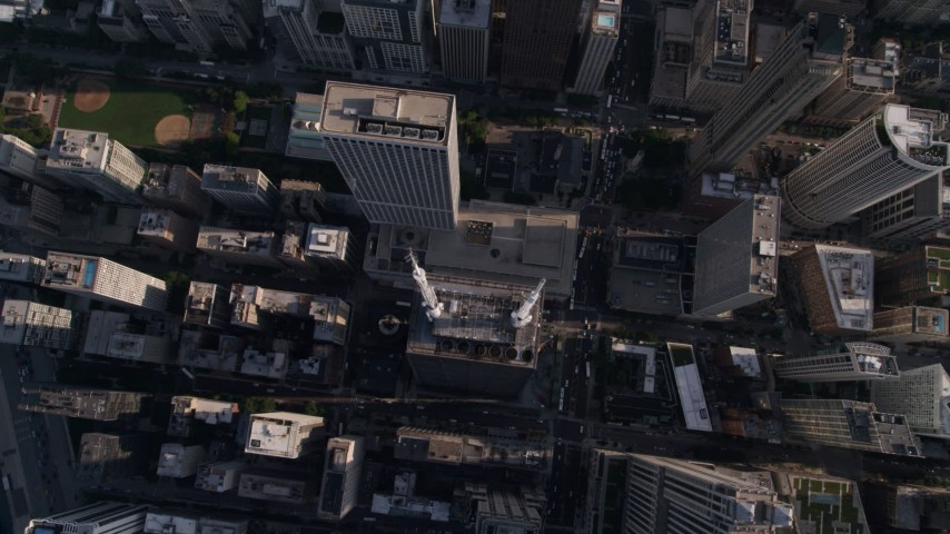5K stock footage aerial video tilt to bird's eye view of John Hancock Center and N Michigan Avenue, Downtown Chicago, Illinois Aerial Stock Footage | AX0002_076