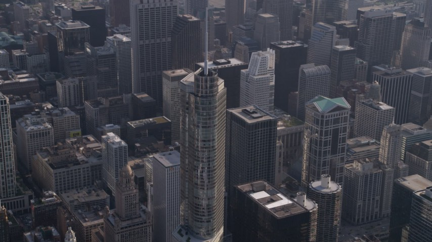 5K stock footage aerial video approach Trump International Hotel and Tower and tilt down the skyscraper, Downtown Chicago, Illinois Aerial Stock Footage | AX0002_077