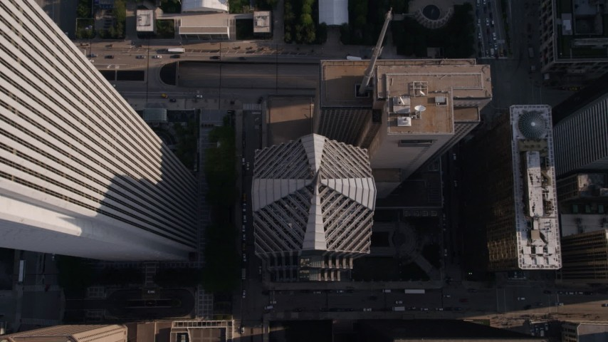 Tilt to a bird's eye view of Two Prudential Plaza in Downtown Chicago, Illinois Aerial Stock Footage | AX0002_079