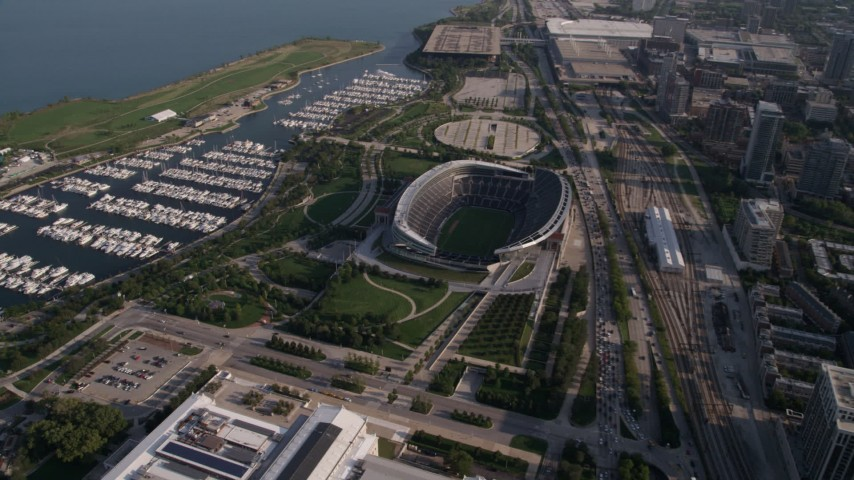 5K stock footage aerial video approach Soldier Field and boats in Burnham Harbor, Chicago, Illinois Aerial Stock Footage | AX0002_083