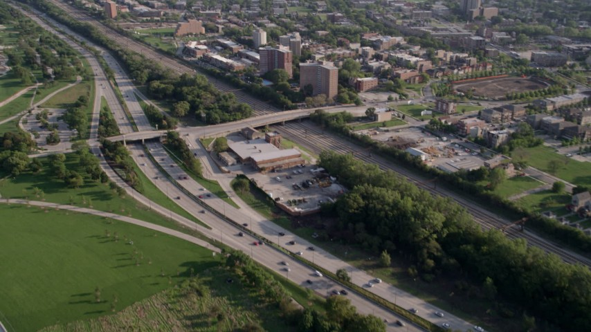 5K stock footage aerial video approach Highway 41, and tilt revealing apartments in Hyde Park, Chicago, Illinois Aerial Stock Footage | AX0002_091
