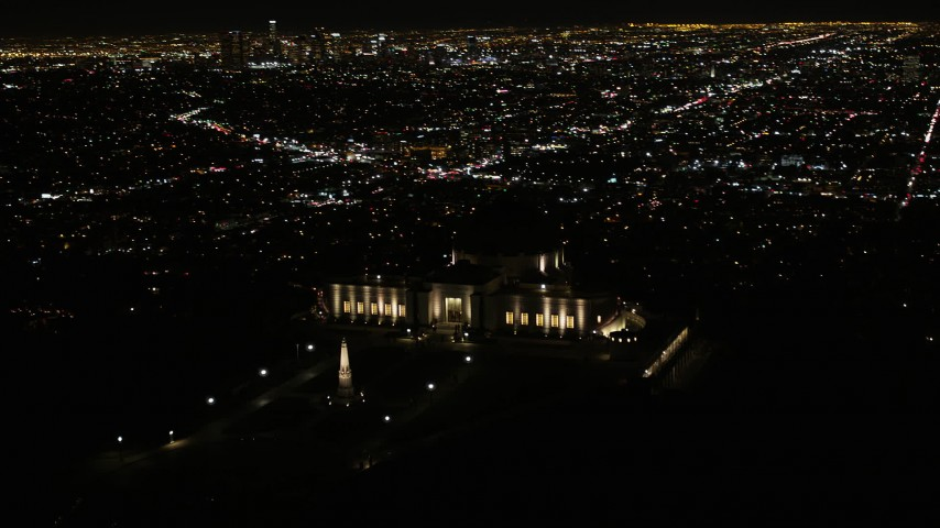 Orbiting around Griffith Observatory at Night Aerial Stock Footage | AX0004_016