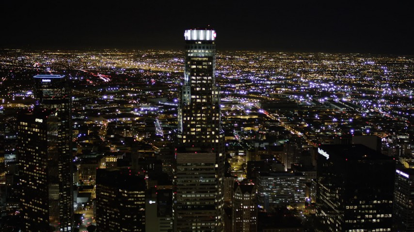 5K stock footage aerial video approach US Bank Tower in Downtown Los Angeles at night, California Aerial Stock Footage | AX0004_022