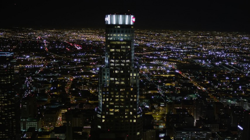 5K stock footage aerial video approach US Bank Tower in Downtown Los Angeles at night, California Aerial Stock Footage | AX0004_022E