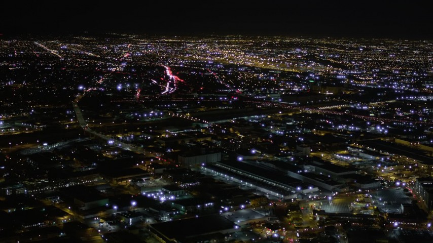 Fly Over the South Side of Downtown Los Angeles at Night Aerial Stock Footage | AX0004_024