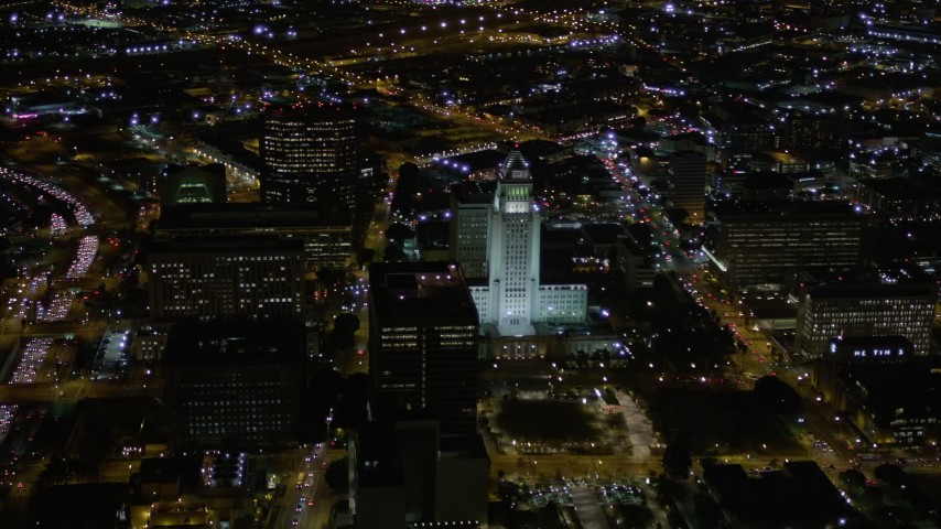 Orbit Los Angeles City Hall at Night Aerial Stock Footage | AX0004_050