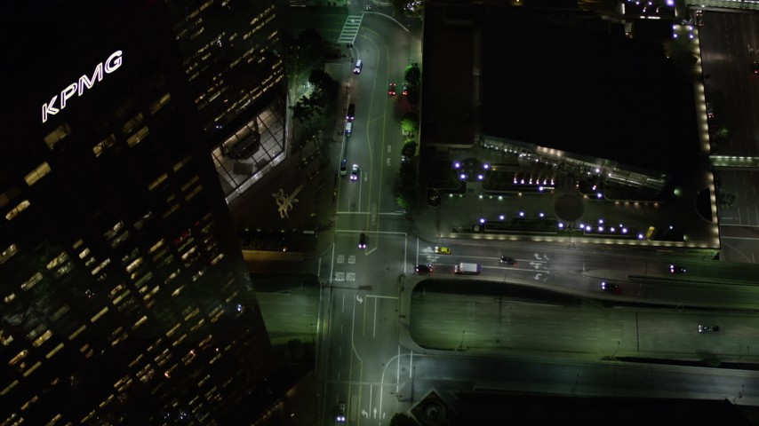 Bird's Eye of South Hope Street at Night in Downtown Los Angeles Aerial Stock Footage | AX0004_053