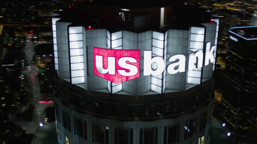 Orbit Top of US Bank Tower at Night in Downtown Los Angeles Aerial Stock Footage | AX0004_056