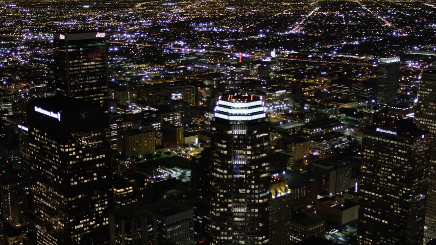 5K stock footage aerial video orbit skyscrapers at night in Downtown Los Angeles, California Aerial Stock Footage | AX0004_058