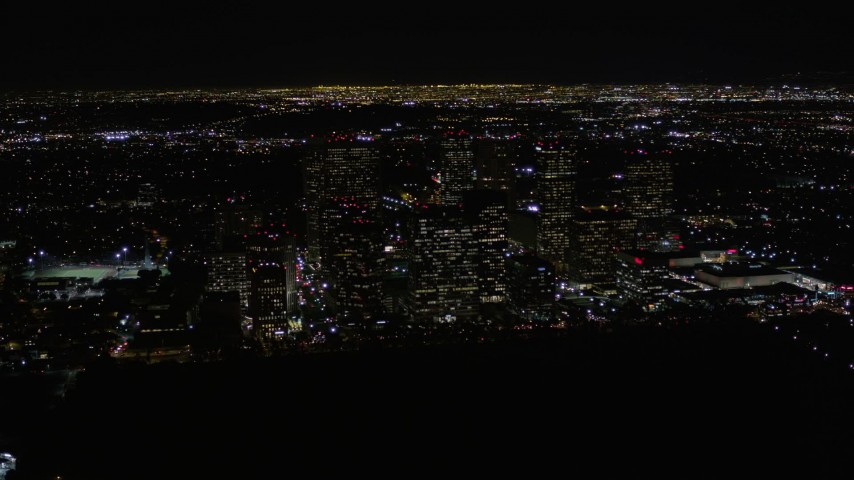 5K stock footage aerial video orbit Century City skyscrapers at night in California Aerial Stock Footage | AX0004_086