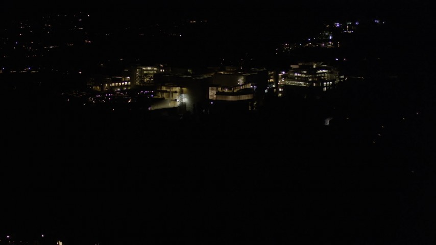 5K stock footage aerial video orbit the J. Paul Getty Museum at night in Brentwood, California Aerial Stock Footage | AX0004_096