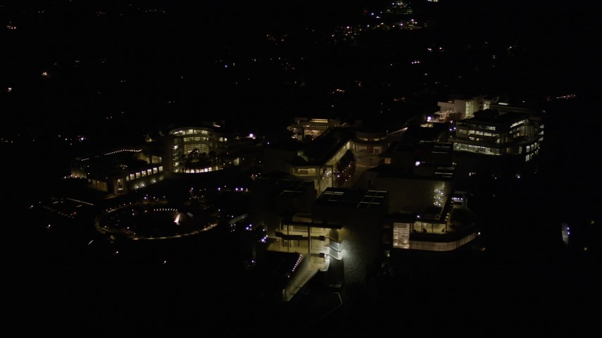 5K stock footage aerial video orbit of the J. Paul Getty Museum at night, Brentwood, California Aerial Stock Footage | AX0004_100