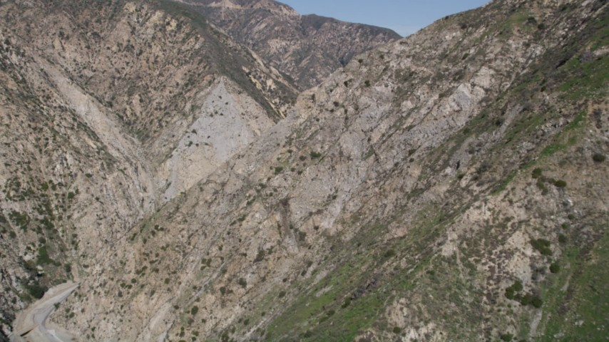 5K stock footage aerial video of revealing Pacoima Dam in San Gabriel Mountains, California Aerial Stock Footage   AX0005_001