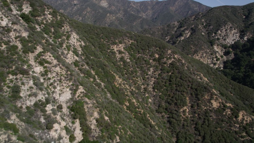 5K stock footage aerial video fly over ridge in the San Gabriel Mountains of California Aerial Stock Footage | AX0005_004