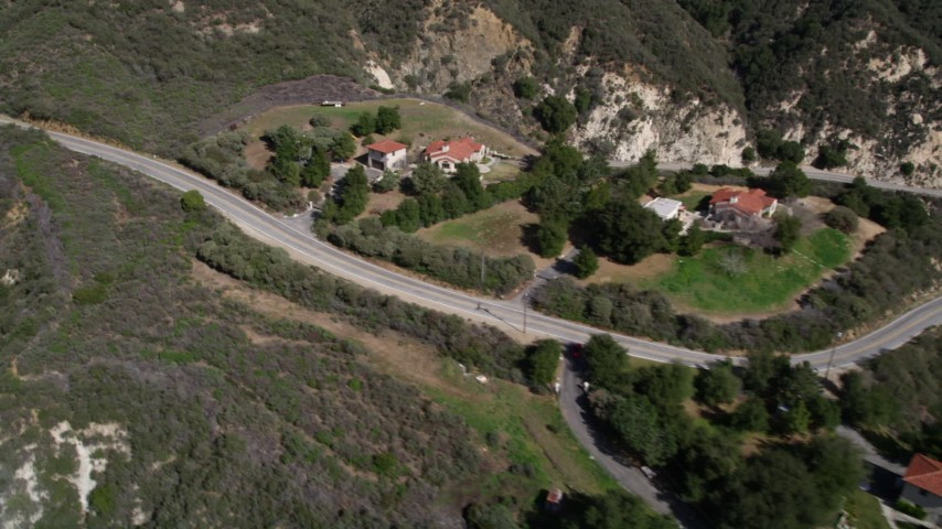5K stock footage aerial video approach homes in the San Gabriel Mountains of California Aerial Stock Footage | AX0005_005