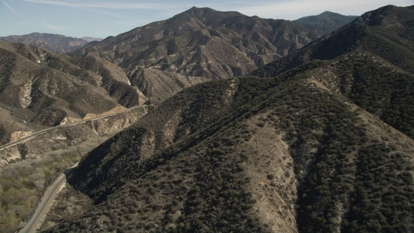 5K stock footage aerial video fly over ridges in the San Gabriel Mountains of California Aerial Stock Footage | AX0005_017