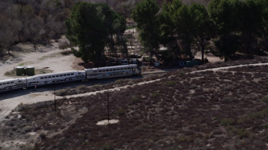 5K stock footage aerial video track passenger train in Santa Clarita, California Aerial Stock Footage | AX0005_025