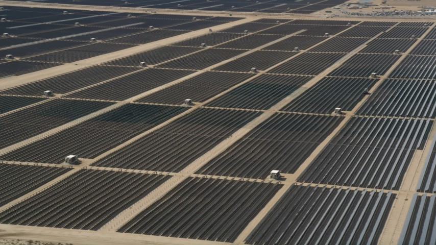 5K stock footage aerial video orbit massive solar energy array in the desert of Antelope Valley, California Aerial Stock Footage | AX0005_078
