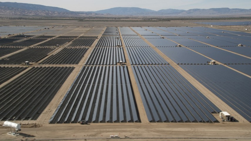 5K stock footage aerial video of desert solar panel array in Antelope Valley, California Aerial Stock Footage | AX0005_081E