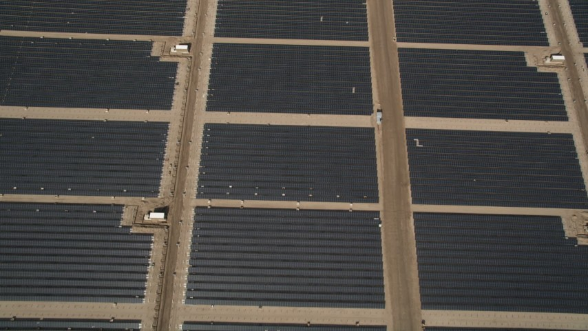 5K stock footage aerial video of a bird's eye view of large solar energy array in the Antelope Valley, California Aerial Stock Footage | AX0005_104