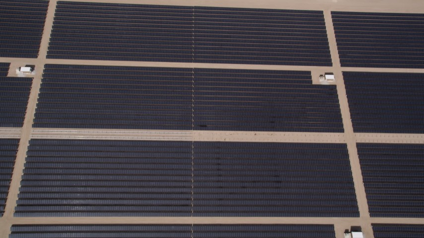 5K stock footage aerial video of bird's eye of Mojave Desert solar energy array in California Aerial Stock Footage | AX0005_106