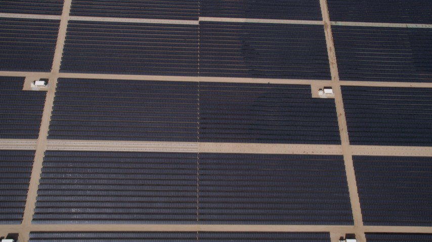5K stock footage aerial video of bird's eye view of a solar array in the Mojave Desert of California Aerial Stock Footage | AX0005_107