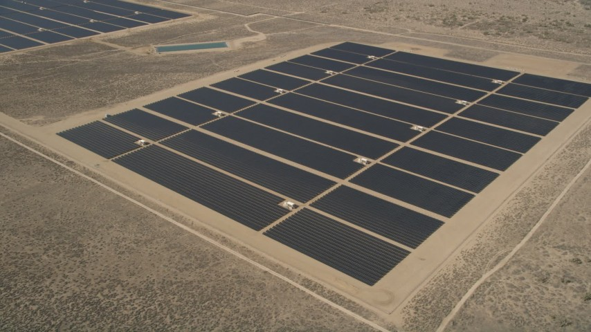 5K stock footage aerial video of solar panels at an energy array in the Mojave Desert, California Aerial Stock Footage | AX0005_112