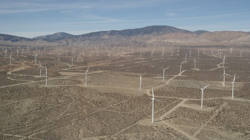 5K stock footage aerial video of a field of windmills in the Mojave Desert, California Aerial Stock Footage | AX0005_125