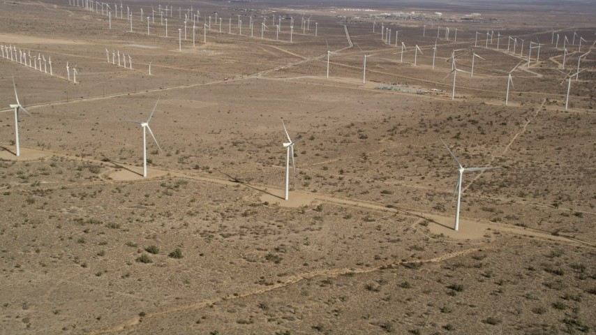 5K stock footage aerial video approach three windmills at a wind farm in the California desert Aerial Stock Footage | AX0006_044