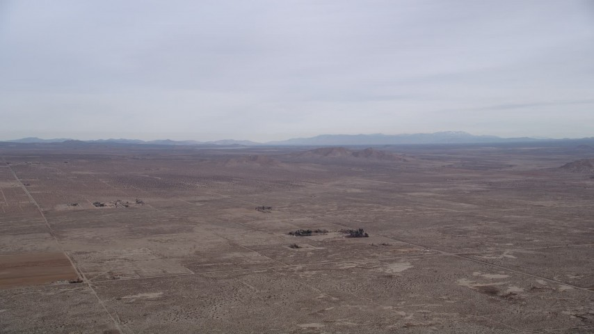 5K aerial video of a desert Background VFX Plate of the Mojave Desert, California Aerial Stock Footage | AX0006_111