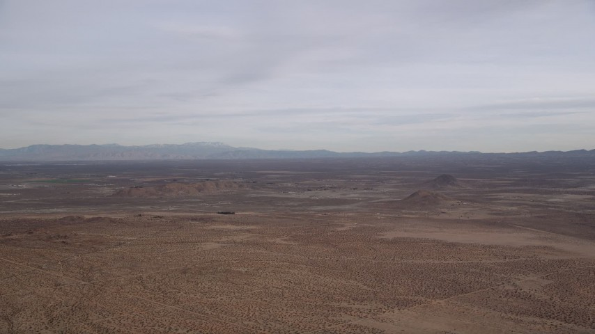 5K stock footage aerial video of a VFX Plate of a wide open desert background, Mojave Desert, California Aerial Stock Footage | AX0006_126