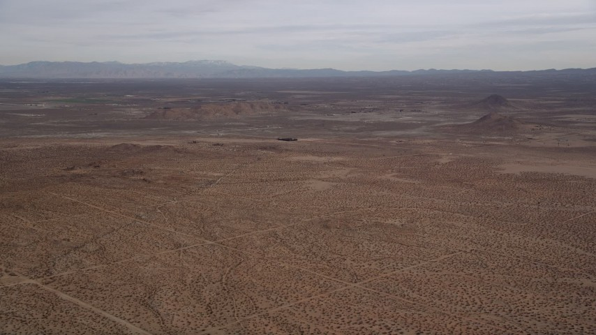 5K stock footage aerial video of a VFX Plate of an open desert background, Mojave Desert, California Aerial Stock Footage | AX0006_127