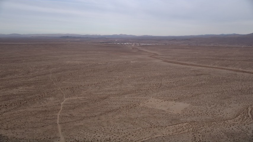 5K stock footage aerial video of a Desert VFX Plate near small town of Helendale, California Aerial Stock Footage | AX0006_154