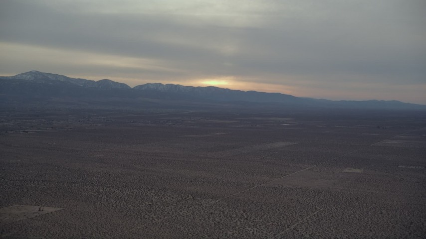 5K aerial video of Mojave Desert background at Sunset VFX Plate, California Aerial Stock Footage | AX0007_017
