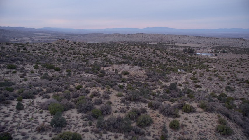 5K stock footage aerial video fly over plants on hills in the Mojave Desert at twilight, California Aerial Stock Footage | AX0008_001