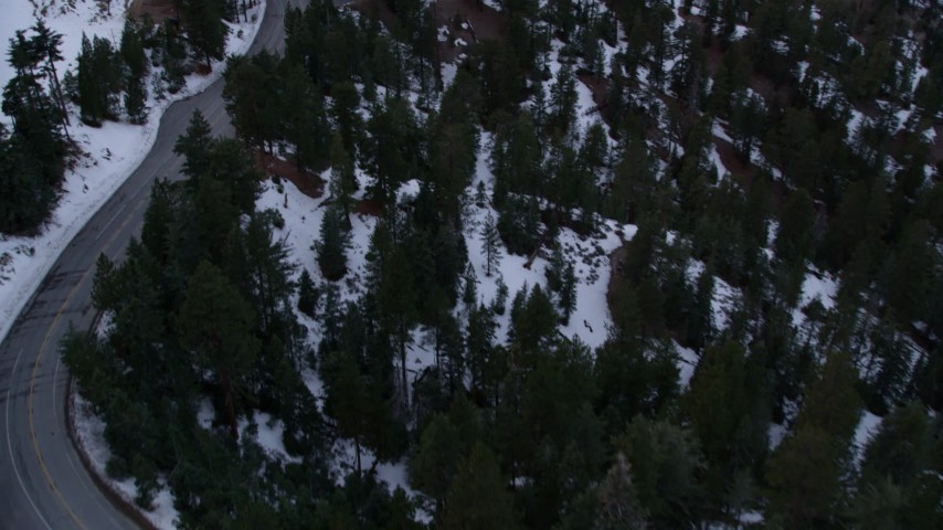 5K aerial video fly over trees to reveal road with winter snow in the San Gabriel Mountains at twilight, California Aerial Stock Footage | AX0008_022