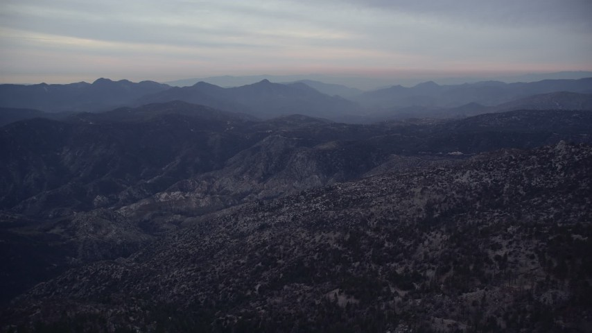 5K stock footage aerial video of approaching mountains at twilight in the San Gabriel Mountains, California Aerial Stock Footage | AX0008_035