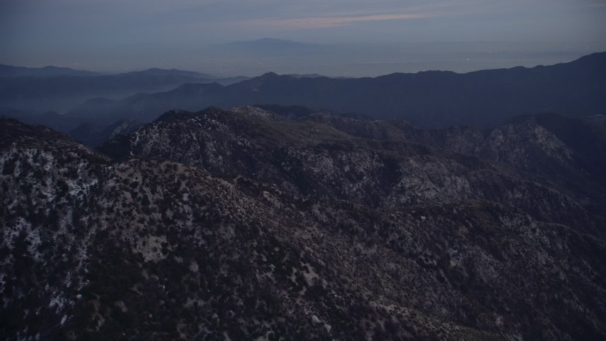 5K stock footage aerial video orbit peaks at twilight in the San Gabriel Mountains, California Aerial Stock Footage | AX0008_037