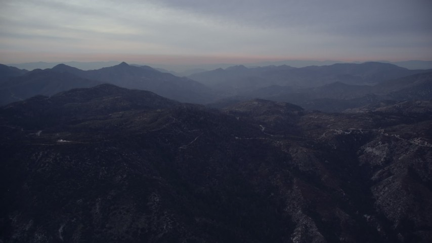 5K stock footage aerial video of purple peaks at twilight in the San Gabriel Mountains, California Aerial Stock Footage | AX0008_038