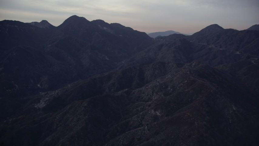 5K stock footage aerial video of San Gabriel Mountains in California at twilight Aerial Stock Footage | AX0008_047