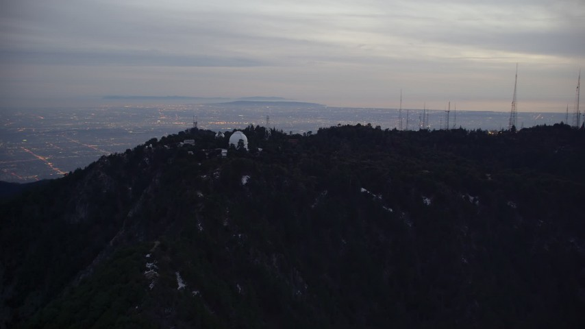 5K stock footage aerial video approach Mount Wilson Observatory at twilight in California Aerial Stock Footage | AX0008_049