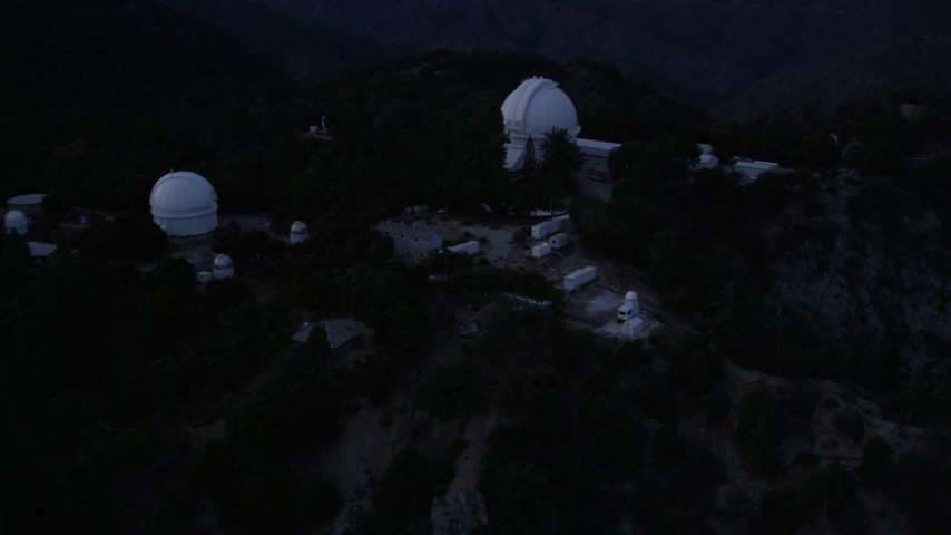 5K stock footage aerial video orbit of Mount Wilson Observatory at twilight in California Aerial Stock Footage | AX0008_051