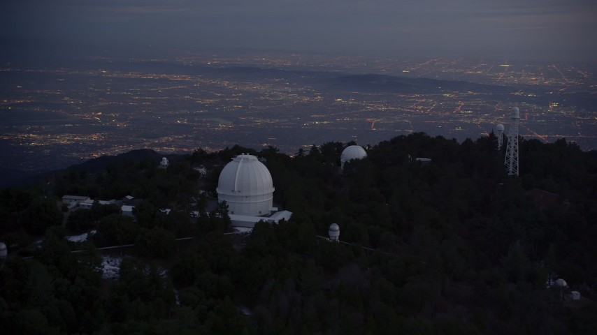 5K stock footage aerial video orbiting around the Mount Wilson Observatory at twilight, California Aerial Stock Footage | AX0008_055