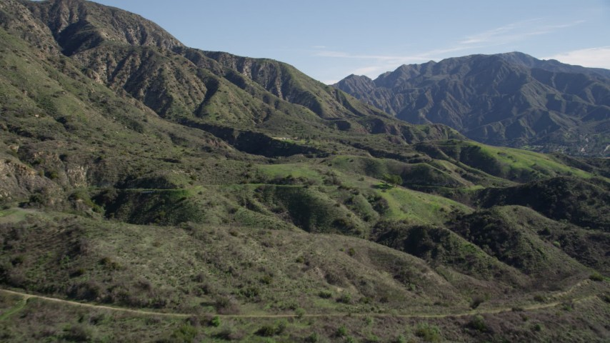 5K stock footage aerial video approach green peaks in the San Gabriel Mountains of California Aerial Stock Footage | AX0009_005
