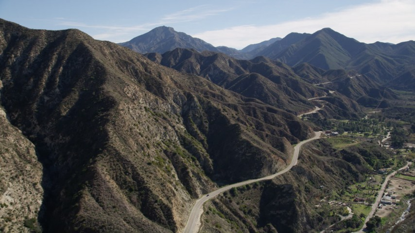 5K aerial video of Big Tujunga Canyon Road in the San Gabriel Mountains, California Aerial Stock Footage AX0009_013