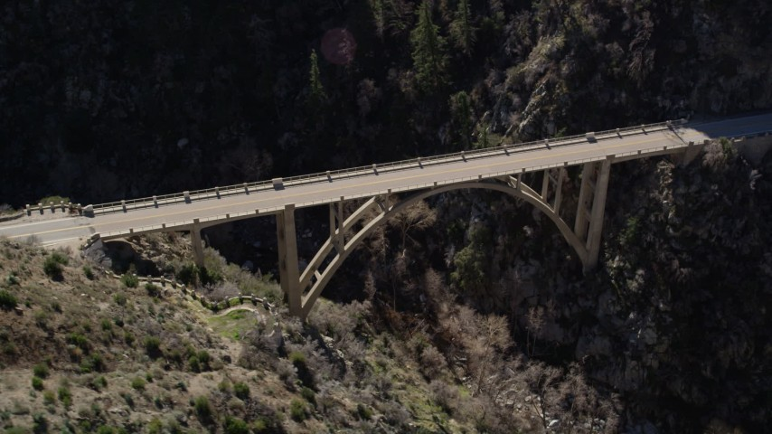 5K stock footage aerial video orbit small bridge in San Gabriel Mountains, California Aerial Stock Footage | AX0009_024