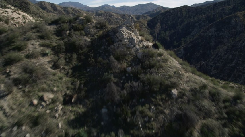 5K stock footage aerial video approach and fly over San Gabriel Mountains, California Aerial Stock Footage | AX0009_025