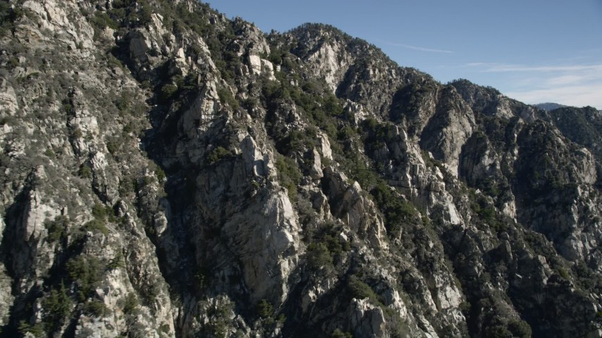 5K stock footage aerial video of rocky slopes in the San Gabriel Mountains of California Aerial Stock Footage | AX0009_031