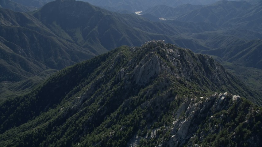5K stock footage aerial video of rugged green peak in the San Gabriel Mountains, California Aerial Stock Footage | AX0009_035